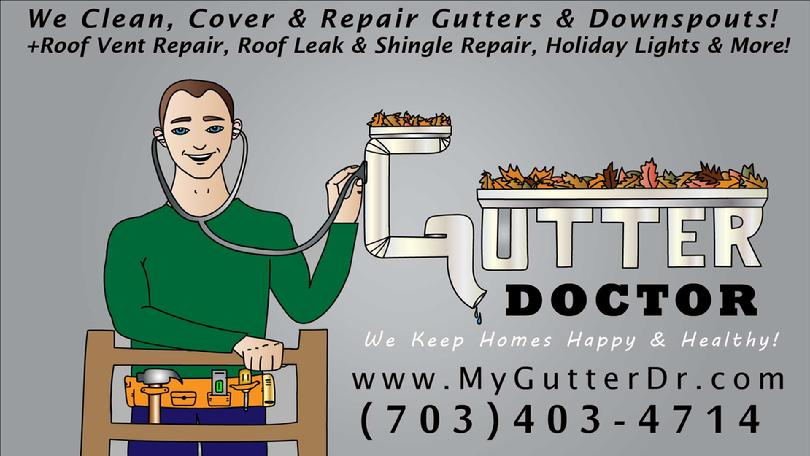 Dirty or Clogged Gutters & Downspouts? Call Gutters Doctor of Northern Virginia @ 703-403-4714